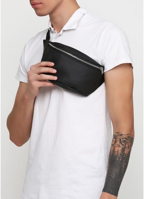 Чоловіча сумка на пояс бананка з еко-шкіри Sambag Tirso MSSm чорна поясна через плече нагрудна