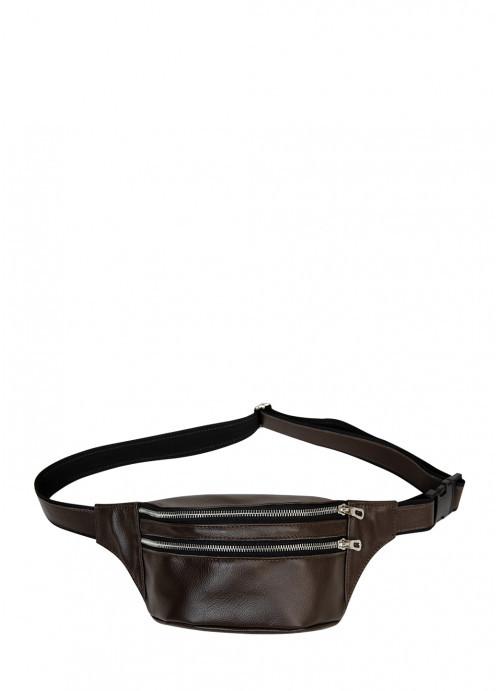 Жіноча сумка на пояс бананка з натуральної коричневої шкіри Tirso з шкіряним ременем поясна через плече