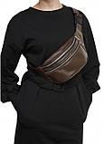 Жіноча сумка на пояс бананка з натуральної коричневої шкіри Tirso з шкіряним ременем поясна через плече, фото 2