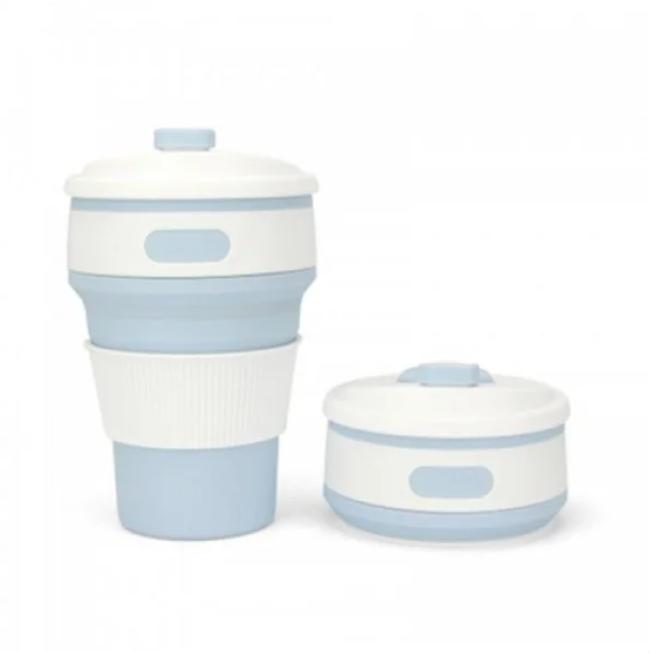 Складная силиконовая чашка Collapsible Coffe Cup 350 ml Голубой (KG-342)