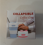 Складная силиконовая чашка Collapsible Coffe Cup 350 ml Голубой (KG-342), фото 3