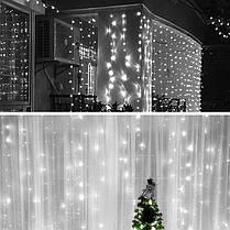 Гирлянда штора-водопад,прозрачный шнур, 3*3 м, 320 LED, белая, с переходником, фото 2