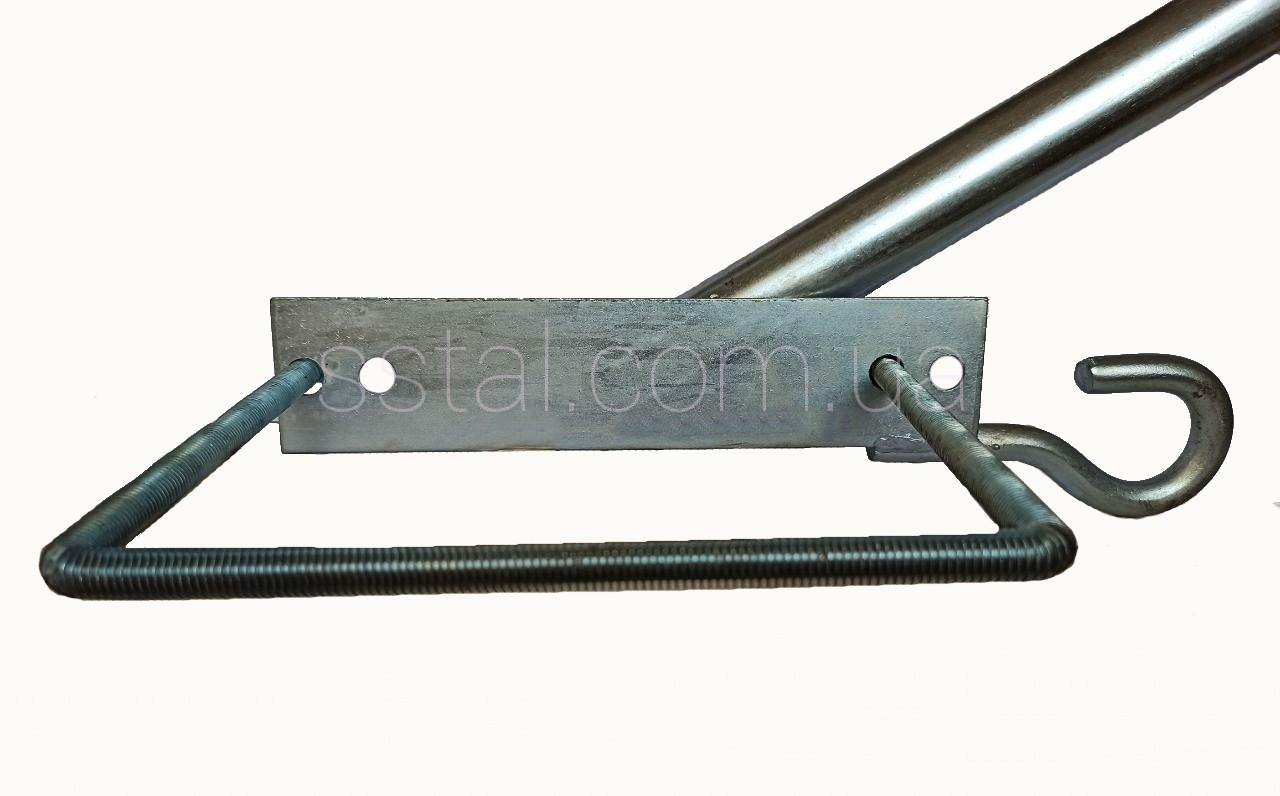 Кронштейн  Ф50мм  длина 350мм 35 градусов С КРЮКОМ для квадратных опор для светильников уличного освещения