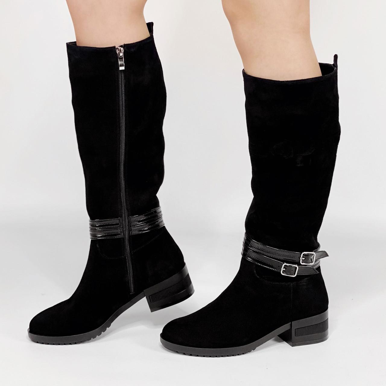 Сапоги женские замшевые черные на широкую голень на низком каблуке MORENTO зимние