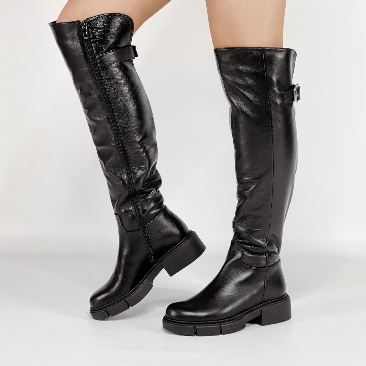 Ботфорты женские кожаные черные базовые MORENTO зимние