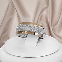 Срібне жіноче кільце з золотими пластинами Мері