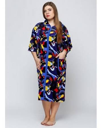 Велюровый однотонный женский халат, фото 2