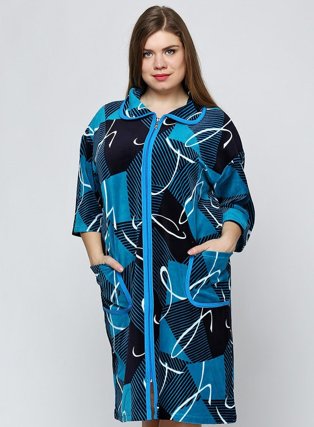 Велюровый однотонный женский халат