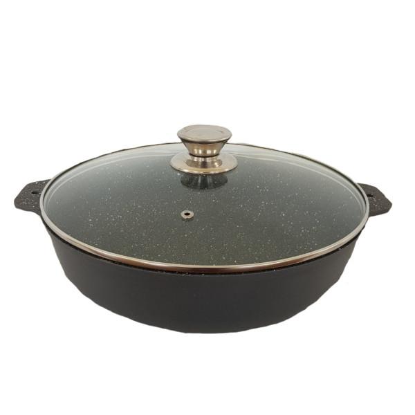 Сковорода Талко Веста 28 см. с крышкой и гранитным покрытием с ободком хром светло серый AD41283