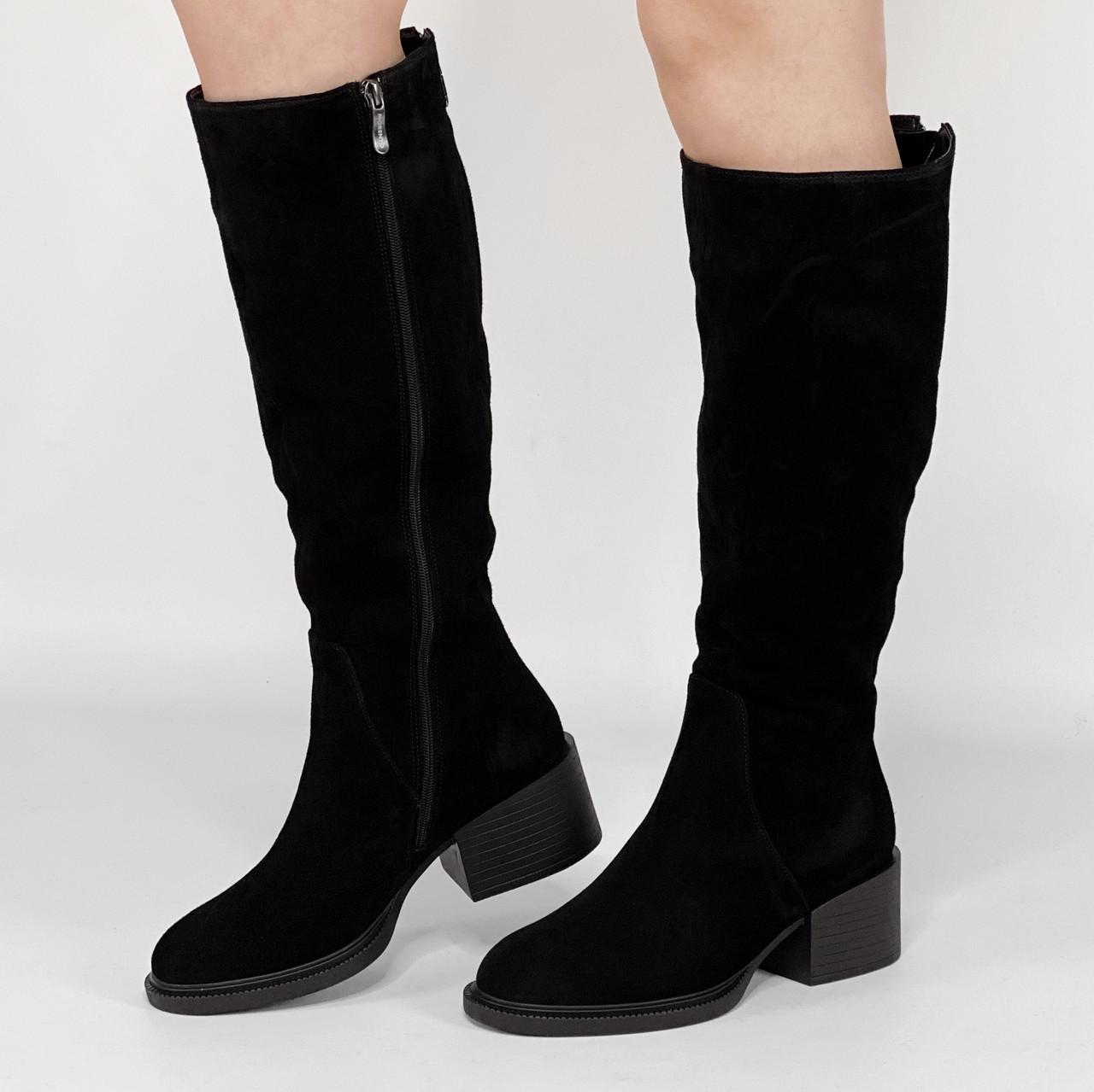 Сапоги женские замшевые черные на широкую голень на устойчивом каблуке MORENTO зимние