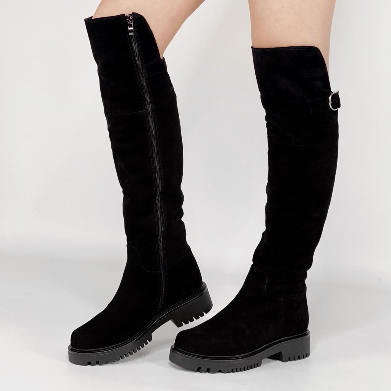 Ботфорты женские замшевые черные с ремнем MORENTO зимние