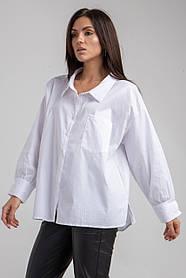 Базовая белая рубашка с длинным рукавом свободного кроя в размере S/M и L/XL.