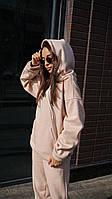 Жіночий теплий костюм на флісі осінь-зима трехнитка колір пудра \ Розміри: S/ M/ L/ XL
