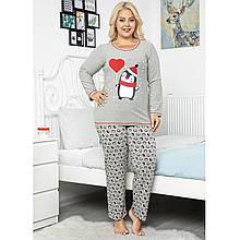 Пижама женская хлопковая с брюками большого размера Пингвины Seyko Турция 2XL-4XL