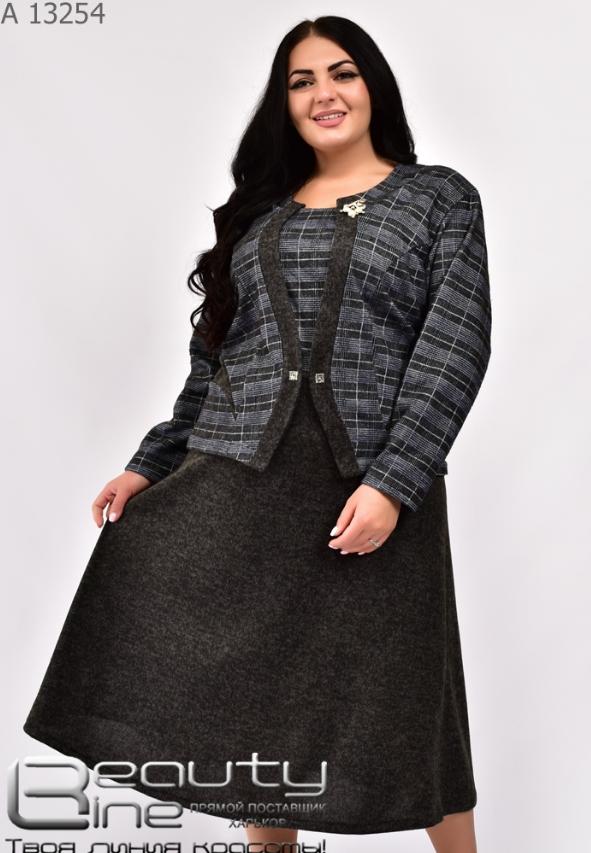 Платье с пиджаком обманка батал Размеры: 54.56.58.60.62.64.66.68.70.72.