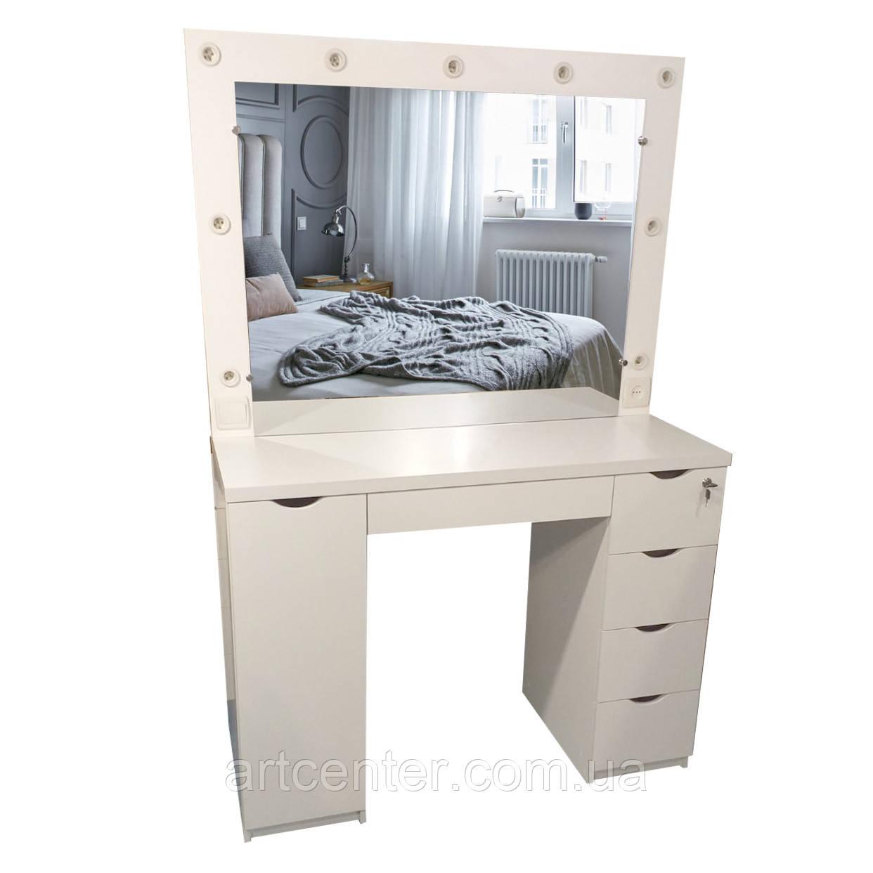 Стіл для визажста з ящиками і полицями