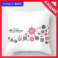 """Новогодняя декоративная подушка """"Черные и красные снежинки"""""""