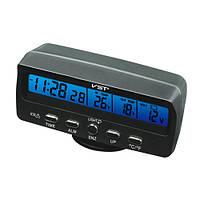 Часы автомобильные электронные авточасы VST-7045V с вольтметром, температурой