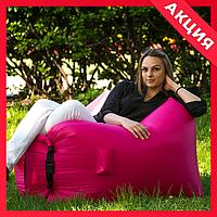 Яркий надувной матрас для отдыха розовый