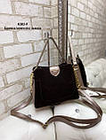 Женская сумочка комбинированная нат.замша/кожзам, фото 5