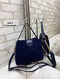 Женская сумочка комбинированная нат.замша/кожзам, фото 3