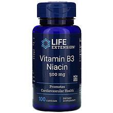 """Вітамін В3, Life Extension """"Vitamin B3 Niacin"""" ніацин, 500 мг (100 капсул)"""