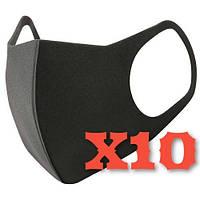 Многоразовая маска Питта 10 шт Черный| Гарантия качества