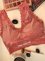 Топ, лиф велюровый с кружевами Цвет Пудровый, фото 1