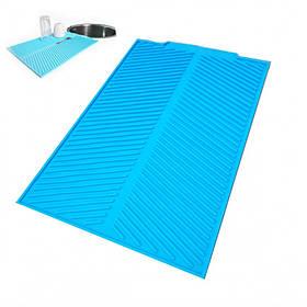 Силиконовый коврик Ytech для сушки посуды 39 х 25 см голубой 18743