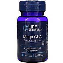 "Масло огірочника з кунжутним лигнанами Life Extension ""Mega GLA with Sesame Lignans"" 400 мг (30 капсул)"