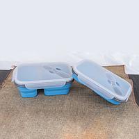 Силиконовый контейнер для еды - голубой