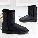 Модные женские черные средние угги натуральная кожа дубленка, фото 2