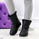 Модные женские черные средние угги натуральная кожа дубленка, фото 4