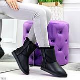 Модные женские черные средние угги натуральная кожа дубленка, фото 5