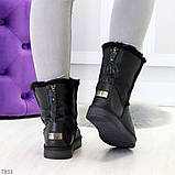 Модные женские черные средние угги натуральная кожа дубленка, фото 6