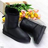 Модные женские черные средние угги натуральная кожа дубленка, фото 8