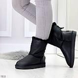 Модные женские черные средние угги натуральная кожа дубленка, фото 9