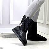 Эффектные молодежные черные женские угги натуральная кожа 36-23см, фото 3