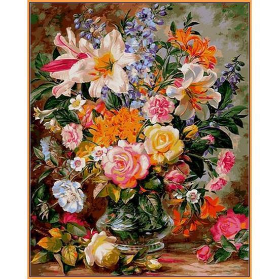 Картина рисование по номерам Babylon Букет из роз и лилий 40х50см NB1056 набор для росписи, краски, кисти,