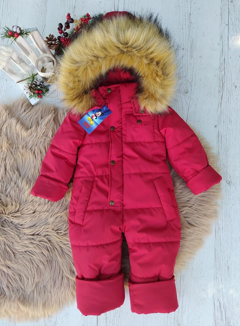 Красивый теплый зимний комбинезон-человечек для девочки красного цвета на рост с 86 до 116 см