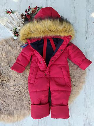 Красивый теплый зимний комбинезон-человечек для девочки красного цвета на рост с 86 до 116 см, фото 2