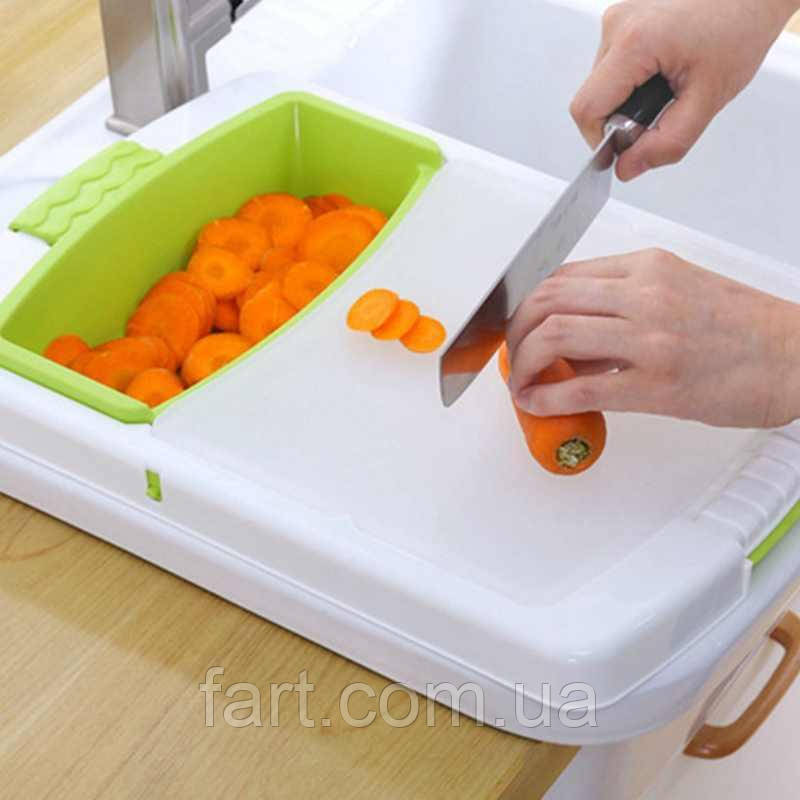 Кухонная разделочная доска на раковину Dish washing 3 в 1