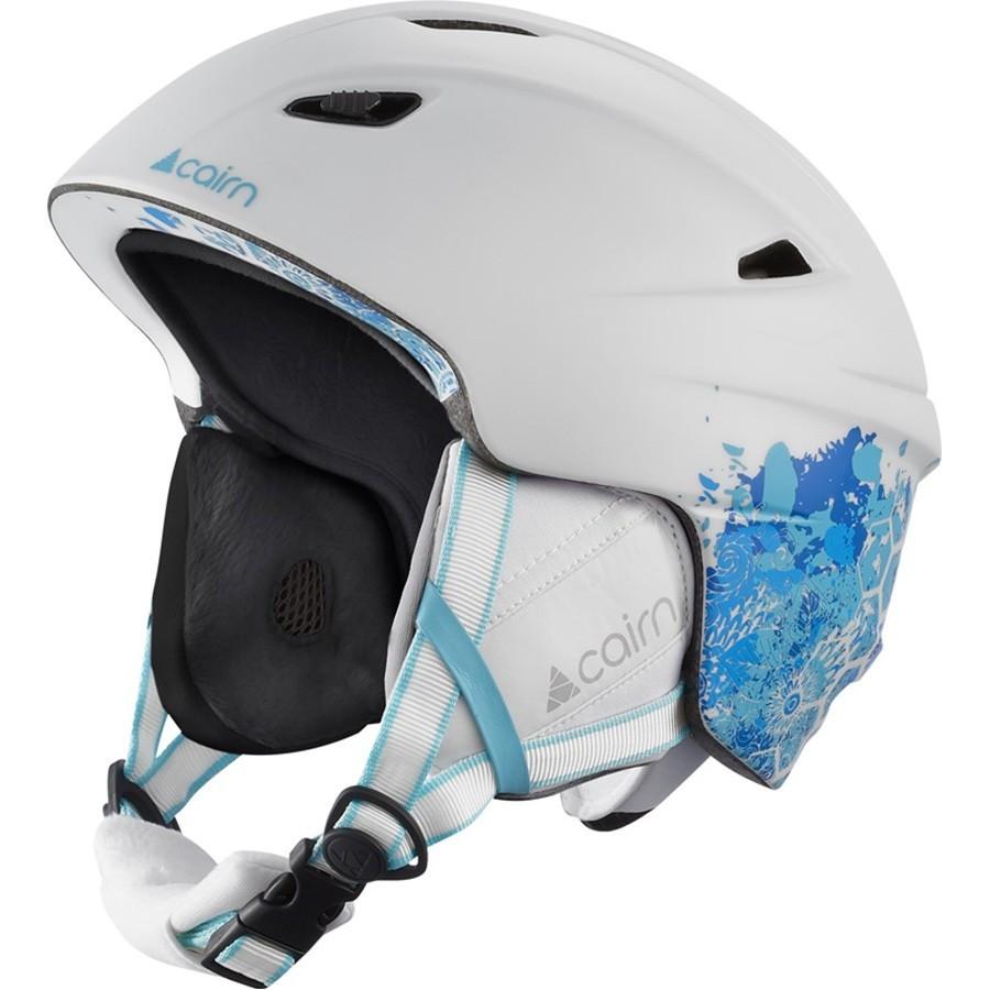 Женский шлем горнолыжный сноубордический Cairn Profil white-mat blue shade flower 57-58 (белый с синим)