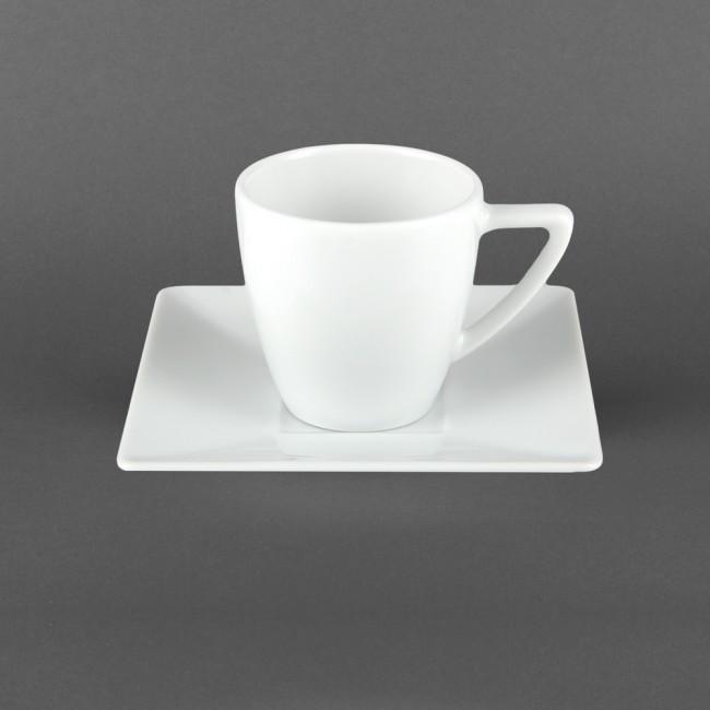 Квадратная чашка фарфоровая 150 мл с квадратным блюдцем Classic Lubiana (2525)