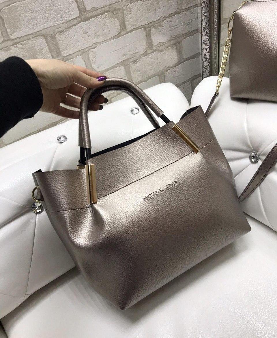 Велика бронзова жіноча сумка на плече з косметичкою клатчем міська стильна набір кожзам