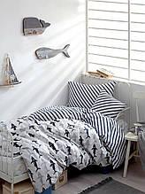 Постельное белье Enlora Home Shark laci-beyaz синий-белый ранфорс полуторный