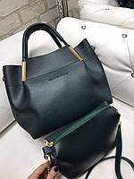 Жіноча сумка велика зелена на плече з косметичкою клатчем міська стильна набір кожзам, фото 1