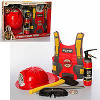 Ігровий набір пожежника з жилетом, вогнегасник бризкає водою, F015C