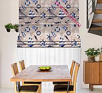 Римская штора ткань хлопок Испания крупные голубые объекты морской тематики на карте 400185v1 с доставкой