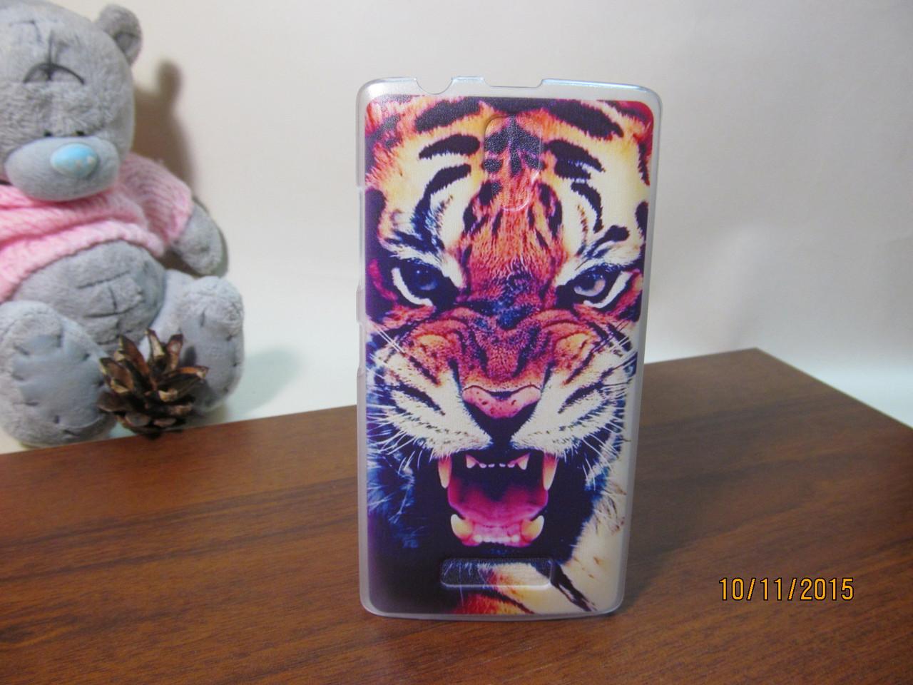 Пластиковый бампер чехол с рисунком для Lenovo A2010 Тигр